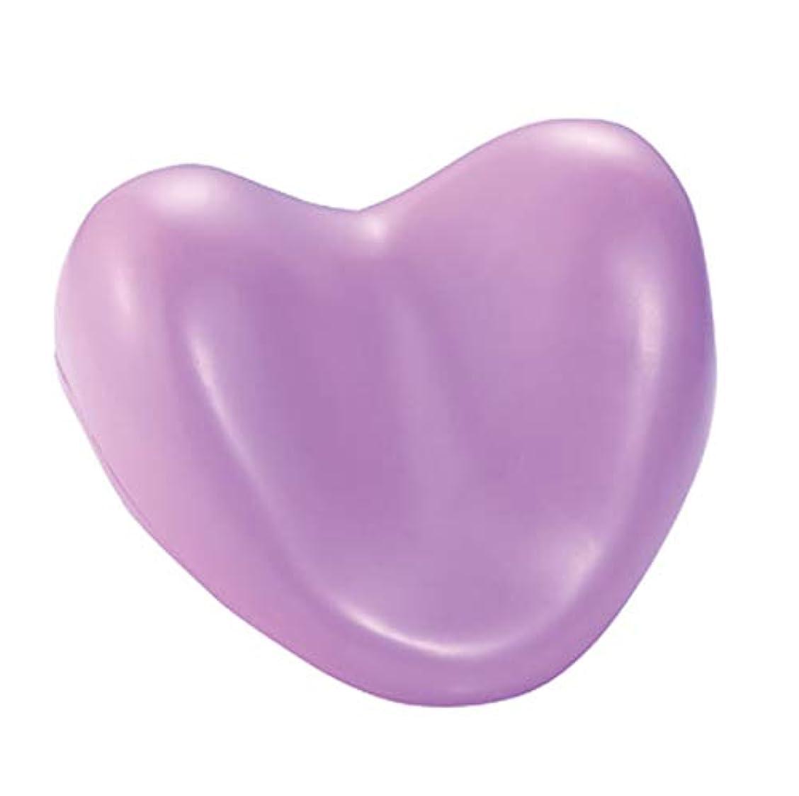 融合誤解を招くを除くサクションカップ付きウェルネスバスピローハート型PUフォームサポート枕温水浴槽とスパ浴槽,Purple