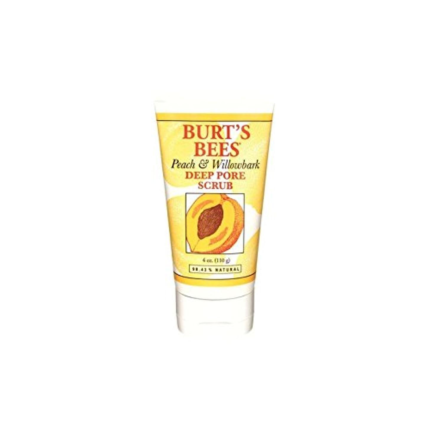 咽頭サーキュレーション米ドルBurt's Bees Peach & Willowbark Deep Pore Scrub (4 Oz / 110G) - バーツビーの桃&深いポアスクラブ(4オンス/ 110グラム) [並行輸入品]