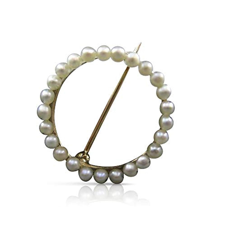 Milano Jewelers 14KT イエローゴールド & ナチュラル AAA サウス シーアパールサークル オブライフ ピン #22742