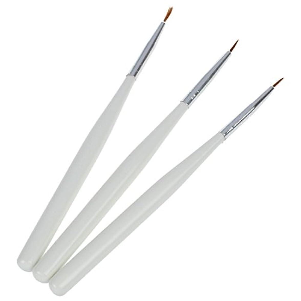 登る川コールネイルアートペン, SODIAL(R)3 ホワイト ネイルアートデザインペン 絵画点在ブラシセット