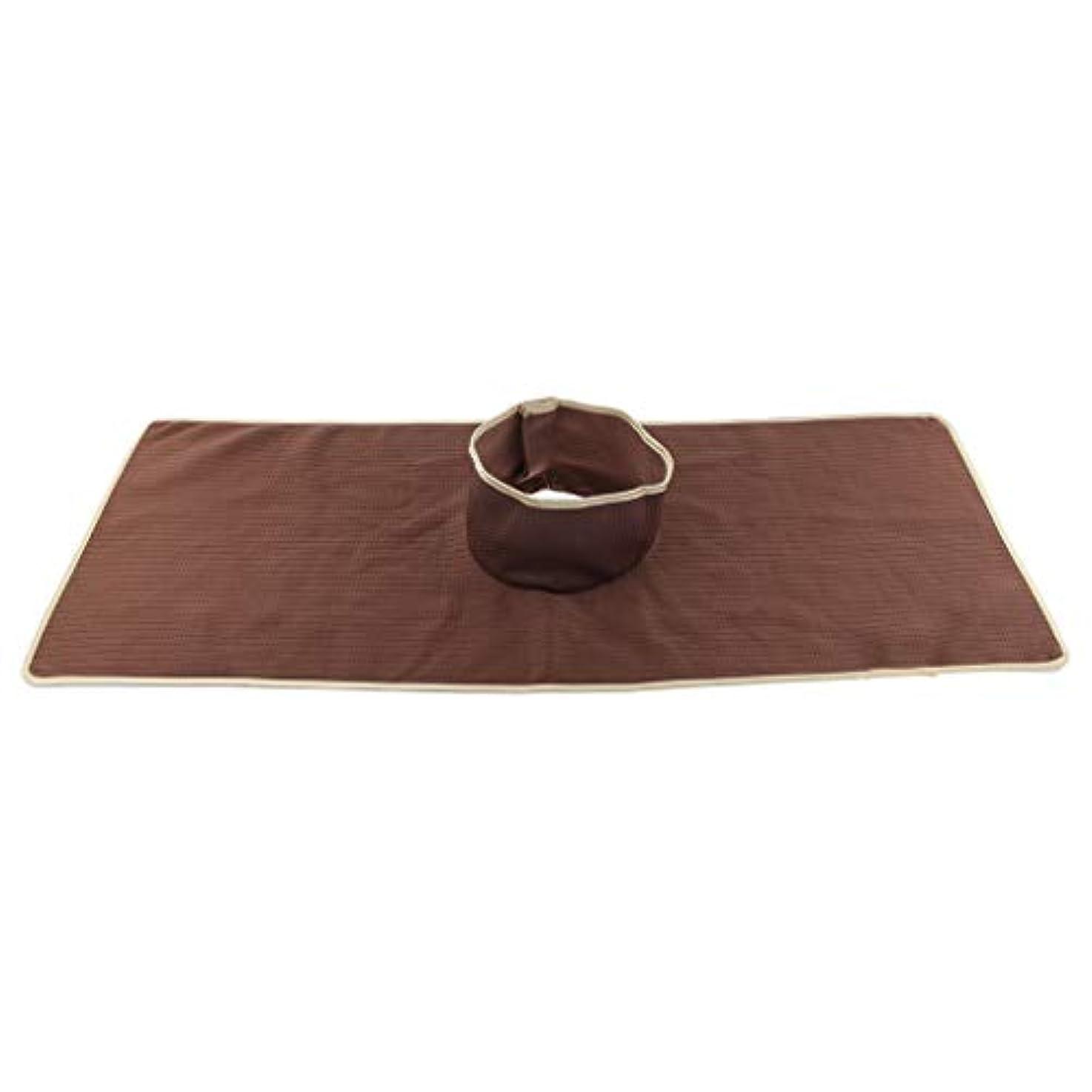 聞く十ハンバーガーサロン マッサージベッドシート 穴付き 衛生パッド 再使用可能 約90×35cm 全3色 - コーヒー