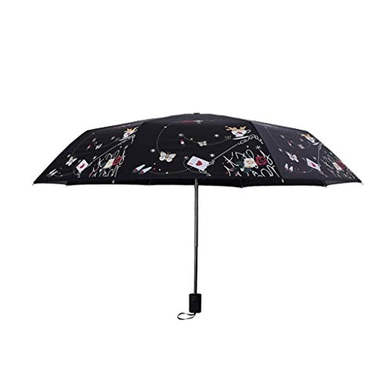 考案する詐欺多年生赤い傘折りたたみデュアルユース傘小さな新鮮な傘抗UV女性日焼け止め日傘傘ゼロ透明黒プラスチック (色 : A)