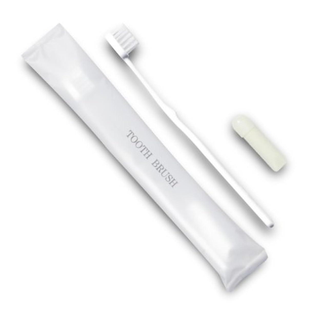 ロール混沌メロンホテル業務用歯ブラシ21穴(白)3gチューブ マット袋FタイプDX 1400本