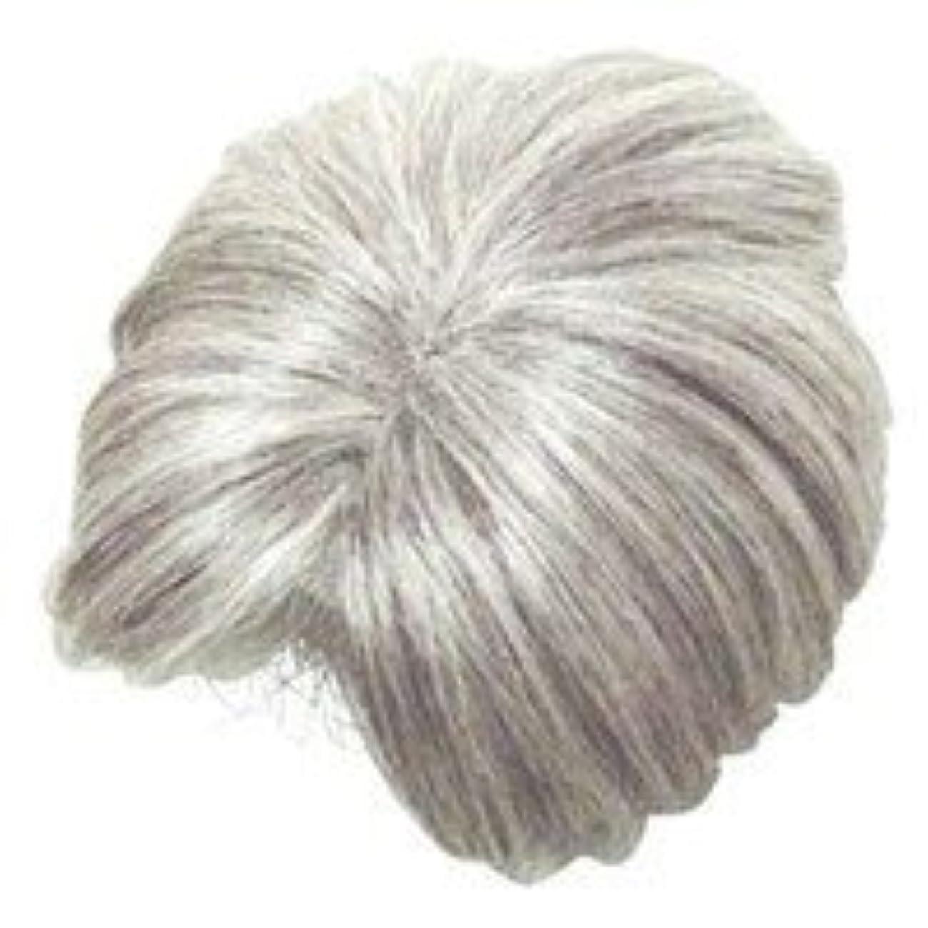 人物フェード青モアヘアピース部分かつら (白髪80パーセント)