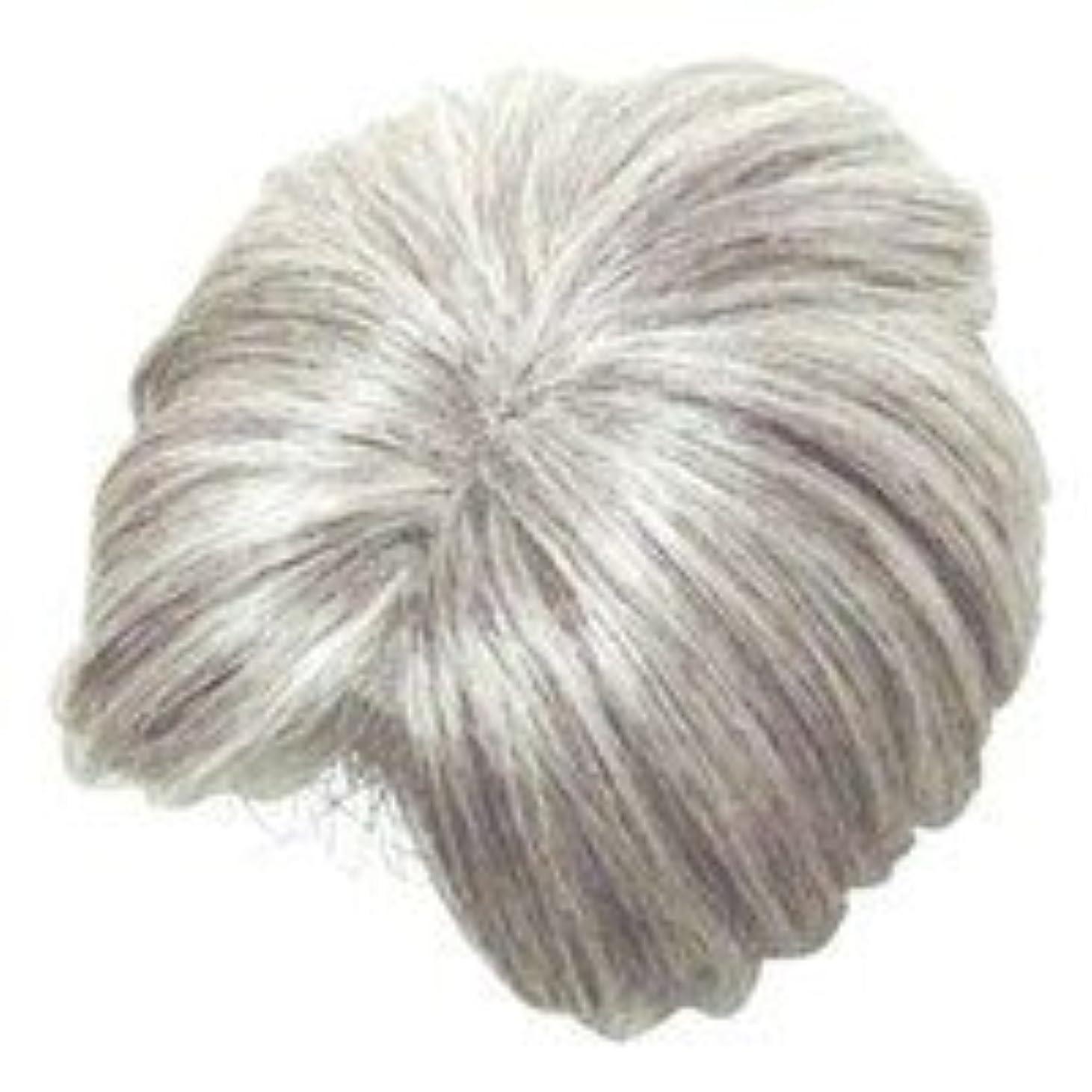 獣差別非公式モアヘアピース部分かつら (白髪80パーセント)