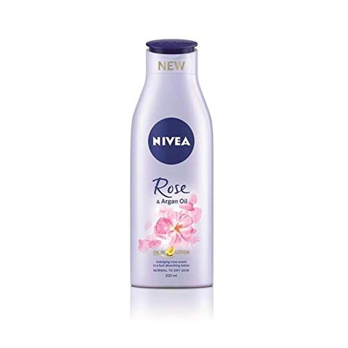 磁器シルエット実行可能[Nivea ] ニベアは、ローズ&アルガンオイルボディローション200Ml - Nivea Rose & Argan Oil Body Lotion 200ml [並行輸入品]