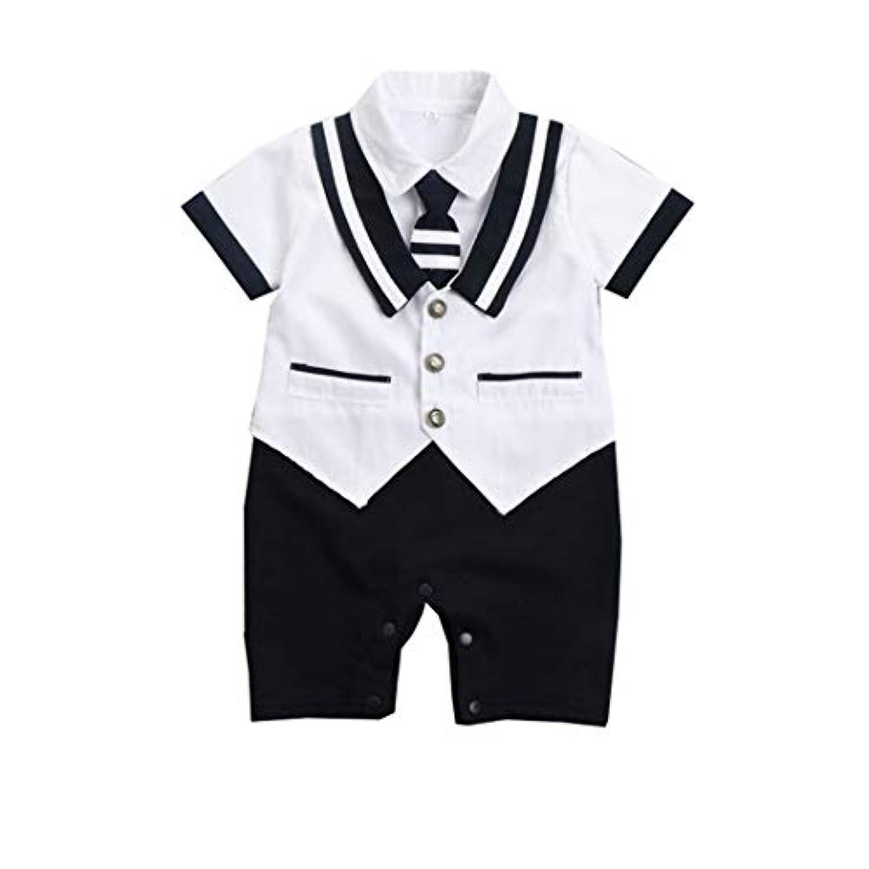 ANKECHANG ベビー服 男の子ロンパース カバーオール 半袖 ネクタイ 紳士 重ね着 前開き 夏 出産祝い 百日祝い 純色 普段着 部屋着