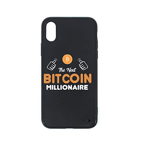 Black TPU Glass Case for Iphone XS Next Bitcoin Millionaire次のビットコインミリオネア iphone XSケースデザインバンパーブラックソフトTPUとガラスケース滑り止め耐衝撃性落下防止&指紋ケースfor iPhone XS耐久性