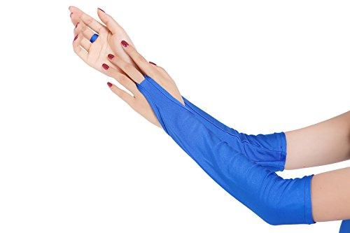 ツルツルニット 指ぬき ロンググローブ 超特大サイズ, 青