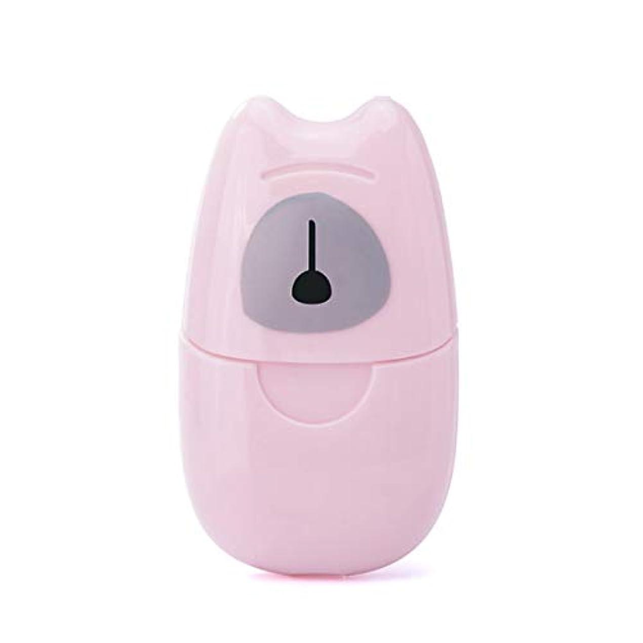 半径冗談で謙虚な箱入り石鹸紙旅行ポータブル屋外手洗い石鹸香りスライスシート50ピースミニ石鹸紙でプラスチックボックス - ピンク