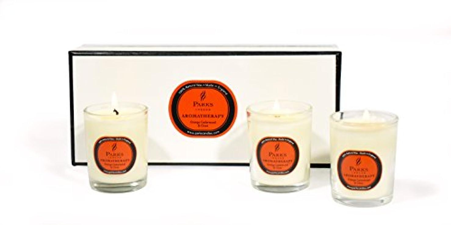 平和的梨形状パークス[PARKS]アロマテラピーキャンドルミニ オレンジセダーウッド&クローブ3個×40g
