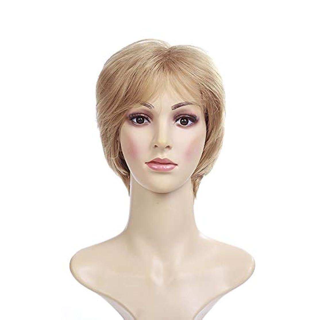 項目やさしいふりをするYOUQIU 女性のフルボブウィッグ+無料キャップかつらのための合成ショートストレートブロンドウィッグ (色 : Blonde)