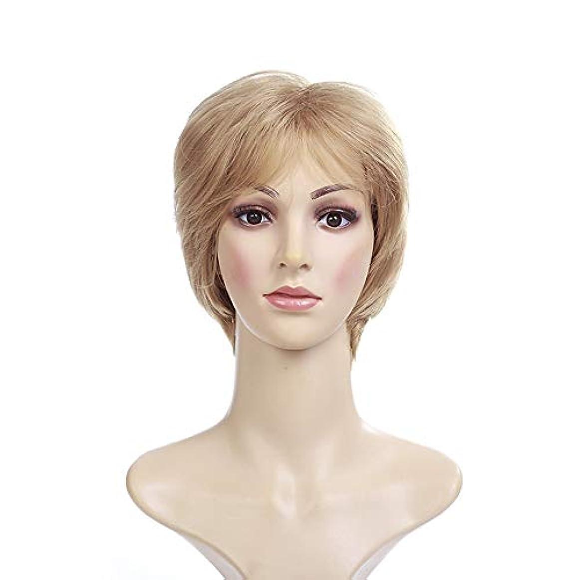 販売員キャンバス寸法WASAIO 合成ショートストレートブロンドウィッグ (色 : Blonde)