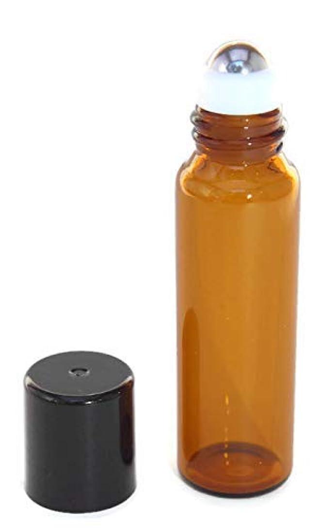 前者早く幸運なUSA 144 Amber Glass 5 ml, Roll-On Glass Bottles with Stainless Steel Roller Roll On Balls - Refillable Aromatherapy...