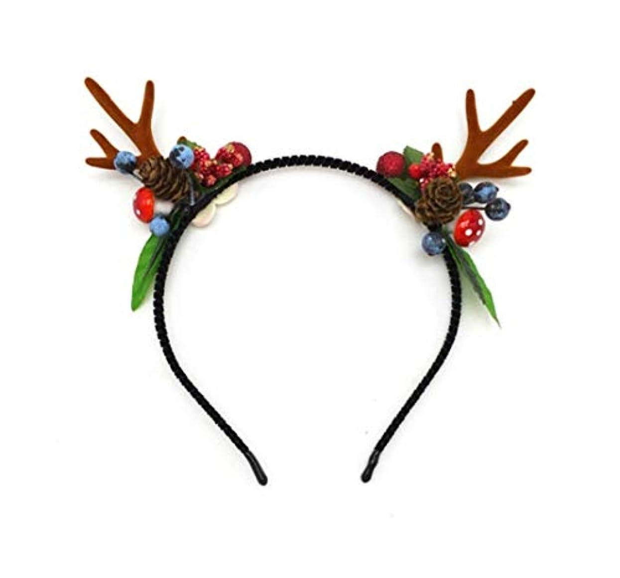 規則性焦げライタークリスマス枝角のヘアクリップ飾り森女性のヘラジカは、女性のヘアアクセサリーヘアピンネット赤いクリップいちごジャムキノコアントラーズヘッドバンド (Size : C)
