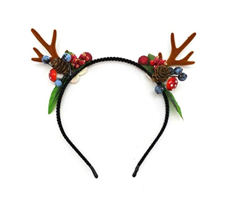 手入れインゲン時計クリスマス枝角のヘアクリップ飾り森女性のヘラジカは、女性のヘアアクセサリーヘアピンネット赤いクリップいちごジャムキノコアントラーズヘッドバンド (Size : C)