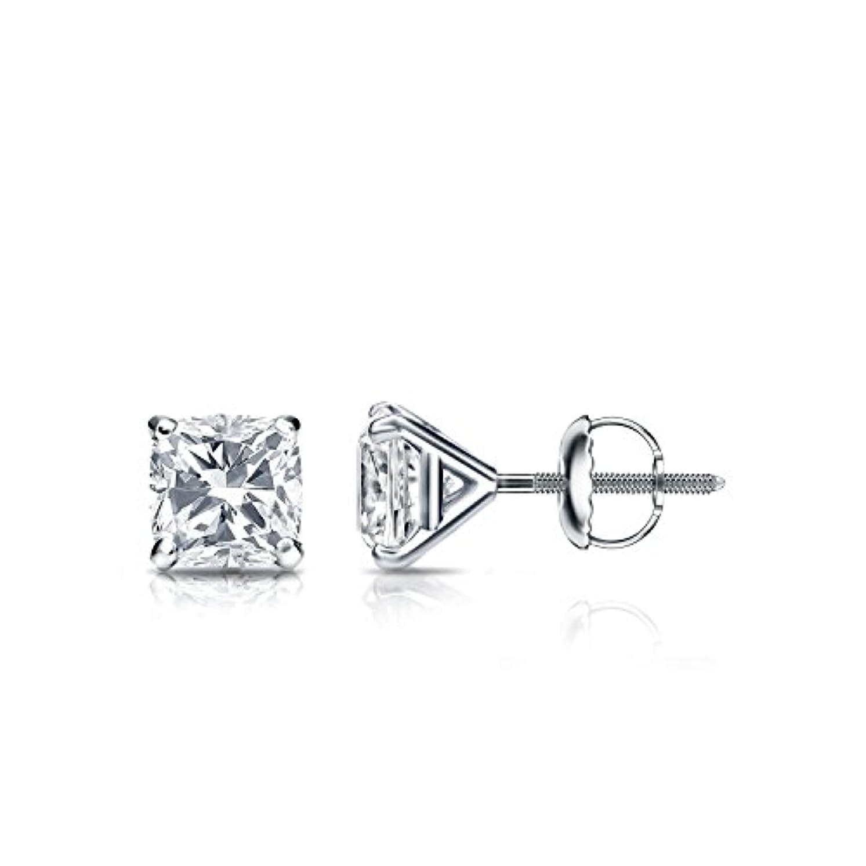 謎警報ふさわしい18 Kホワイトゴールド4プロングMartiniクッションダイヤモンドメンズスタッドイヤリング( 1 / 2 – 2 ct、Oホワイト、i1 - i2 ) screw-back