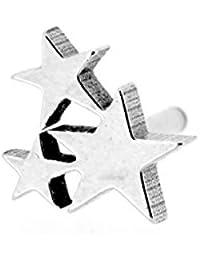 【N2 stone】 三連の星(スリースター) サージカルステンレスピアス 銀色(シルバー) 1個 16G(約1.2mm) / メンズ&レディース
