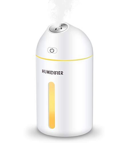 Kungix 加湿器 卓上加湿器 ペットボトル 320ML オフィス 寝室 車載 LEDライト 空焚き防止 水漏れ防止 静か 省エネ 噴霧量2段階調節 噴霧口45° ホワイト