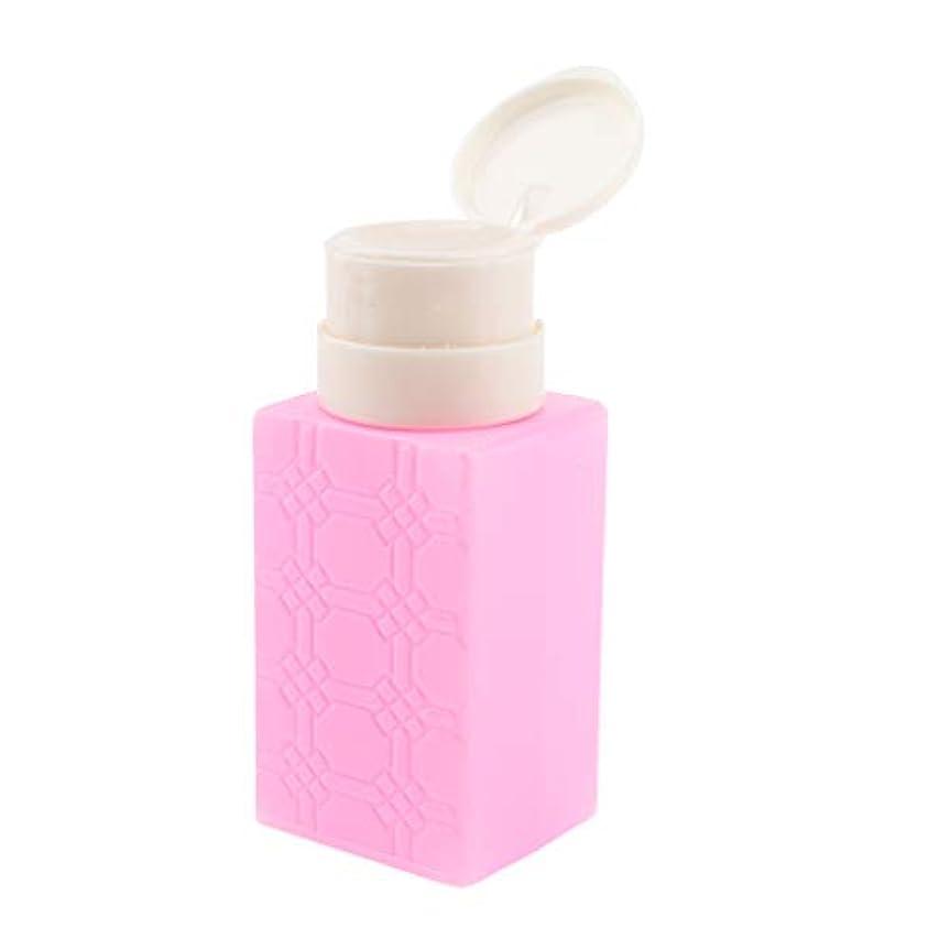 B Blesiya ポンプディスペンサー ネイルクリーナーボトル ポンプボトル 200ml 4色選べ - ローズレッド