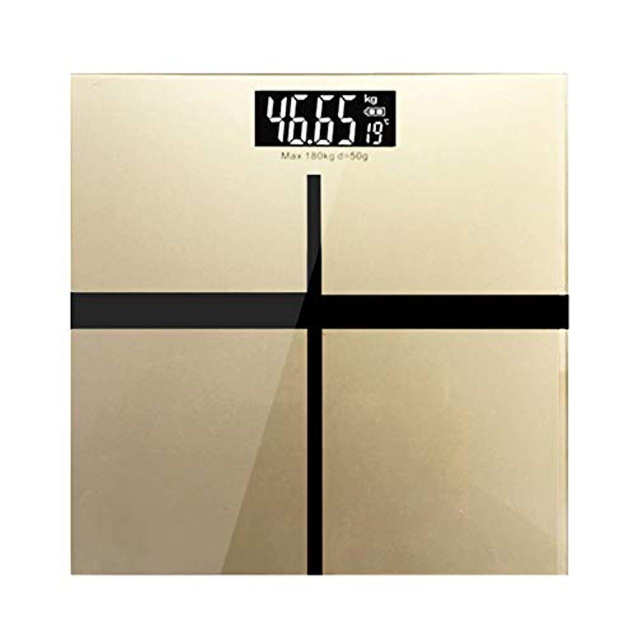 テロリストコンプライアンス急いで超スリムデジタル体重計, 高精度センサーと強化ガラス付き 読みやすい, 体重をkgまたはlbで測ります, クイックタップスタート スマートな電子はかり,Gold