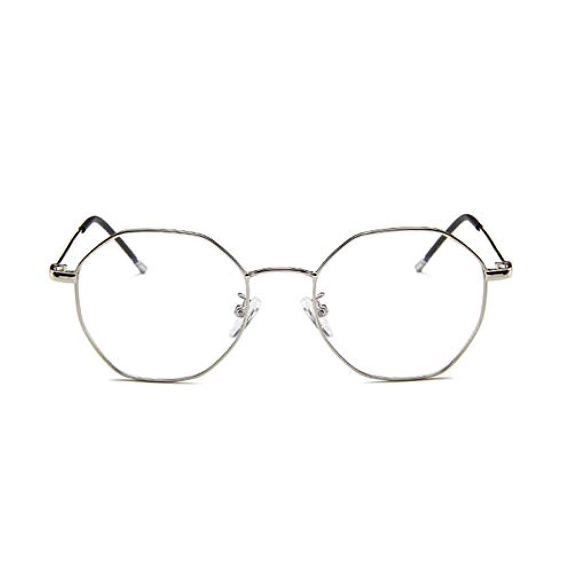 目を覚ます言い換えると同志ファッションメガネ近視多角形フレーム韓国語版金属フレーム男性と女性のための不規則なフラットグラス-スライバー