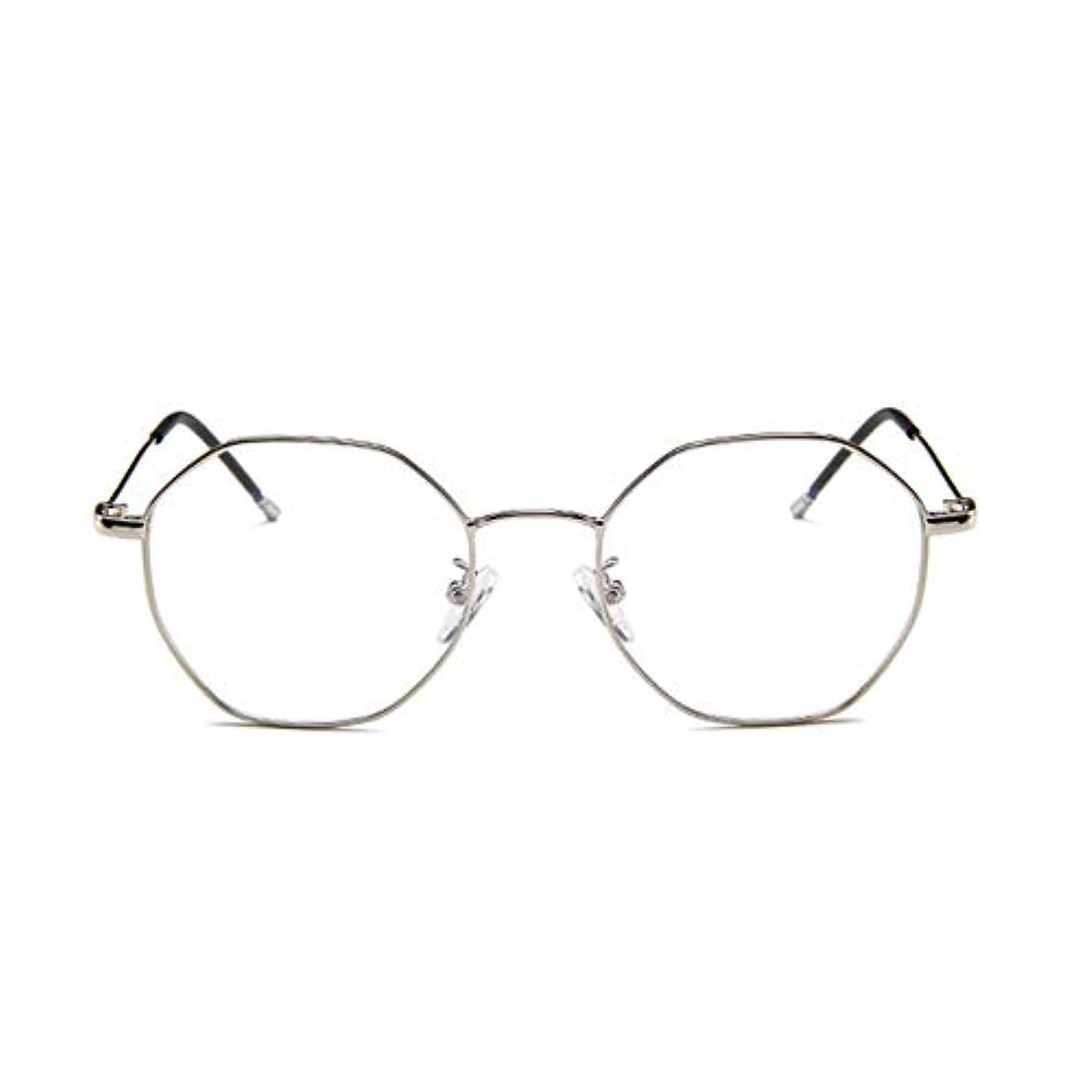 蒸気ペース患者ファッションメガネ近視多角形フレーム韓国語版金属フレーム男性と女性のための不規則なフラットグラス-スライバー