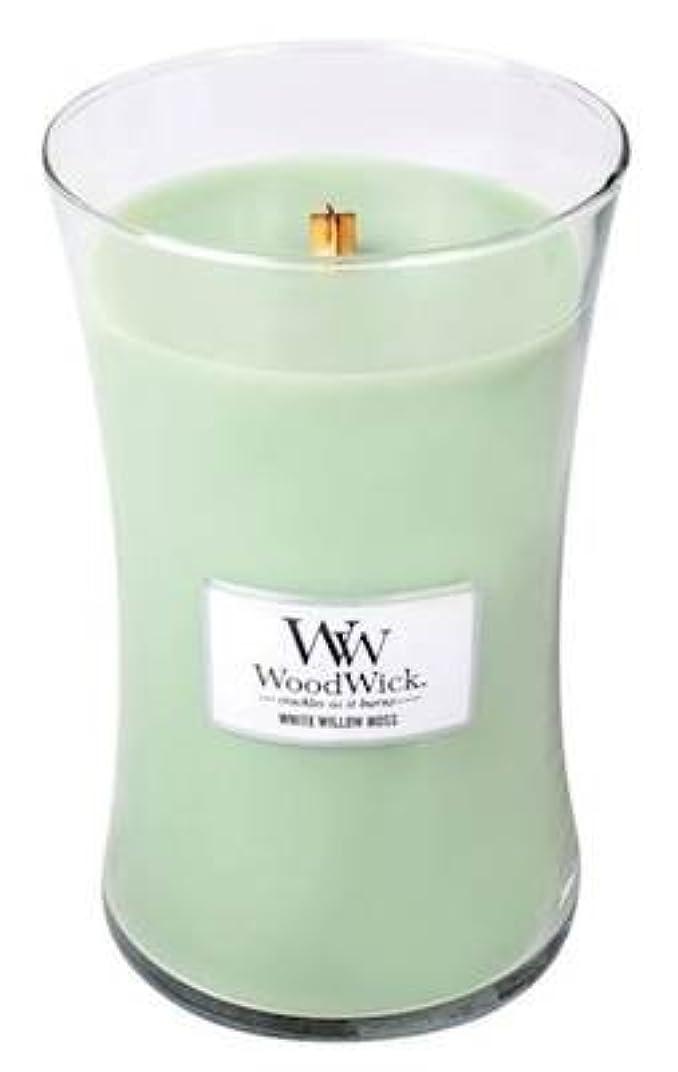 フォーマット撤回する吹雪WHITE WILLOW MOSS WoodWick 650ml Large Hourglass Jar Candle Burns 180 Hours