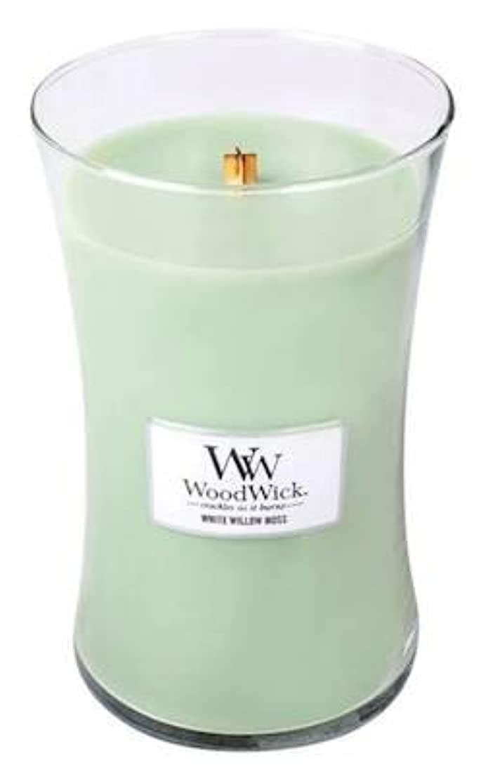 運搬生むイーウェルWHITE WILLOW MOSS WoodWick 650ml Large Hourglass Jar Candle Burns 180 Hours