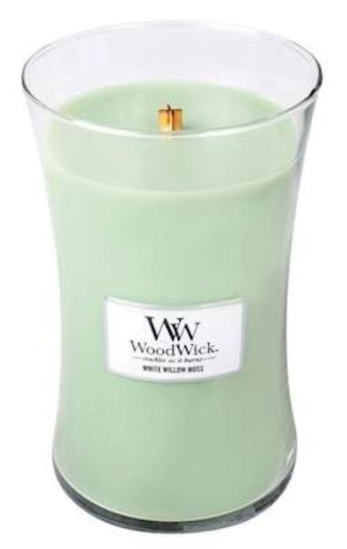 余分な何か医学WHITE WILLOW MOSS WoodWick 650ml Large Hourglass Jar Candle Burns 180 Hours