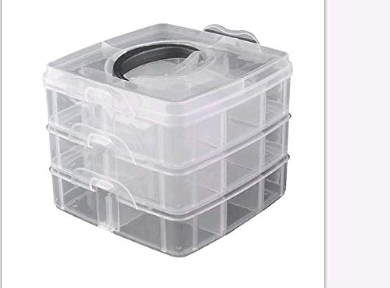 操作フォークカフェ3層プラスチック空き収納ボックスネイルアートラインストーンツールジュエリービーズオーガナイザーコンテナ取り外し可能なメイクアップボックス