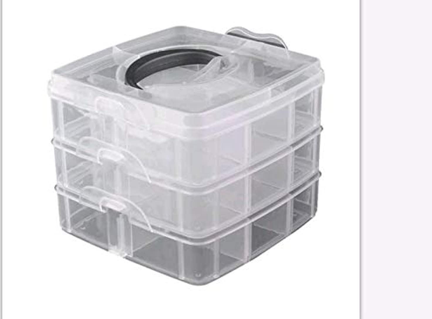 前提条件気晴らし雑草3層プラスチック空き収納ボックスネイルアートラインストーンツールジュエリービーズオーガナイザーコンテナ取り外し可能なメイクアップボックス