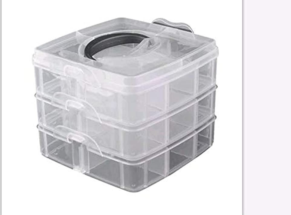 病者起こるピルファー3層プラスチック空き収納ボックスネイルアートラインストーンツールジュエリービーズオーガナイザーコンテナ取り外し可能なメイクアップボックス