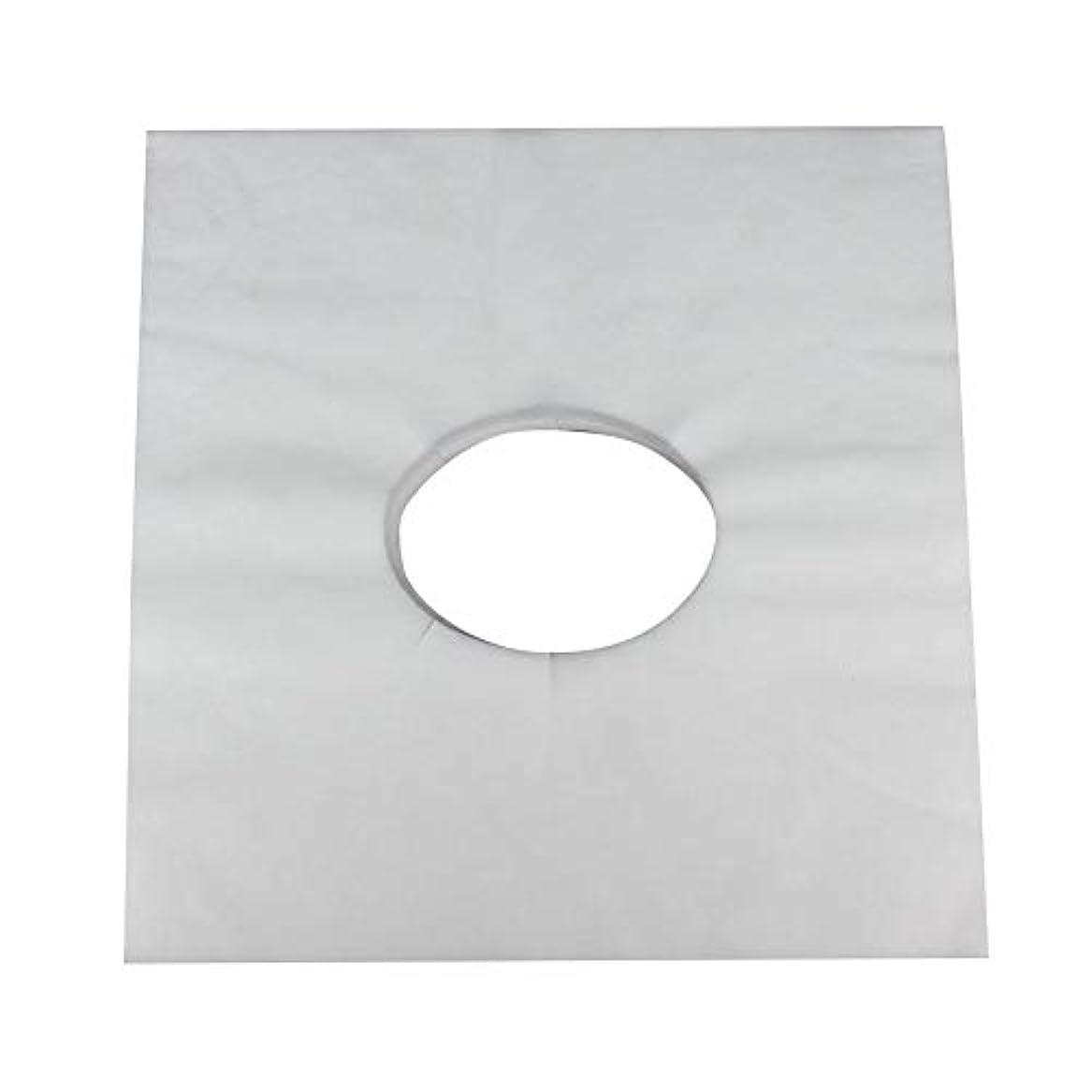 法令悲しみずらすマッサージのための使い捨て可能な美容院のベッドの表面穴カバー不織布マッサージテーブル枕カバー、100個(白)