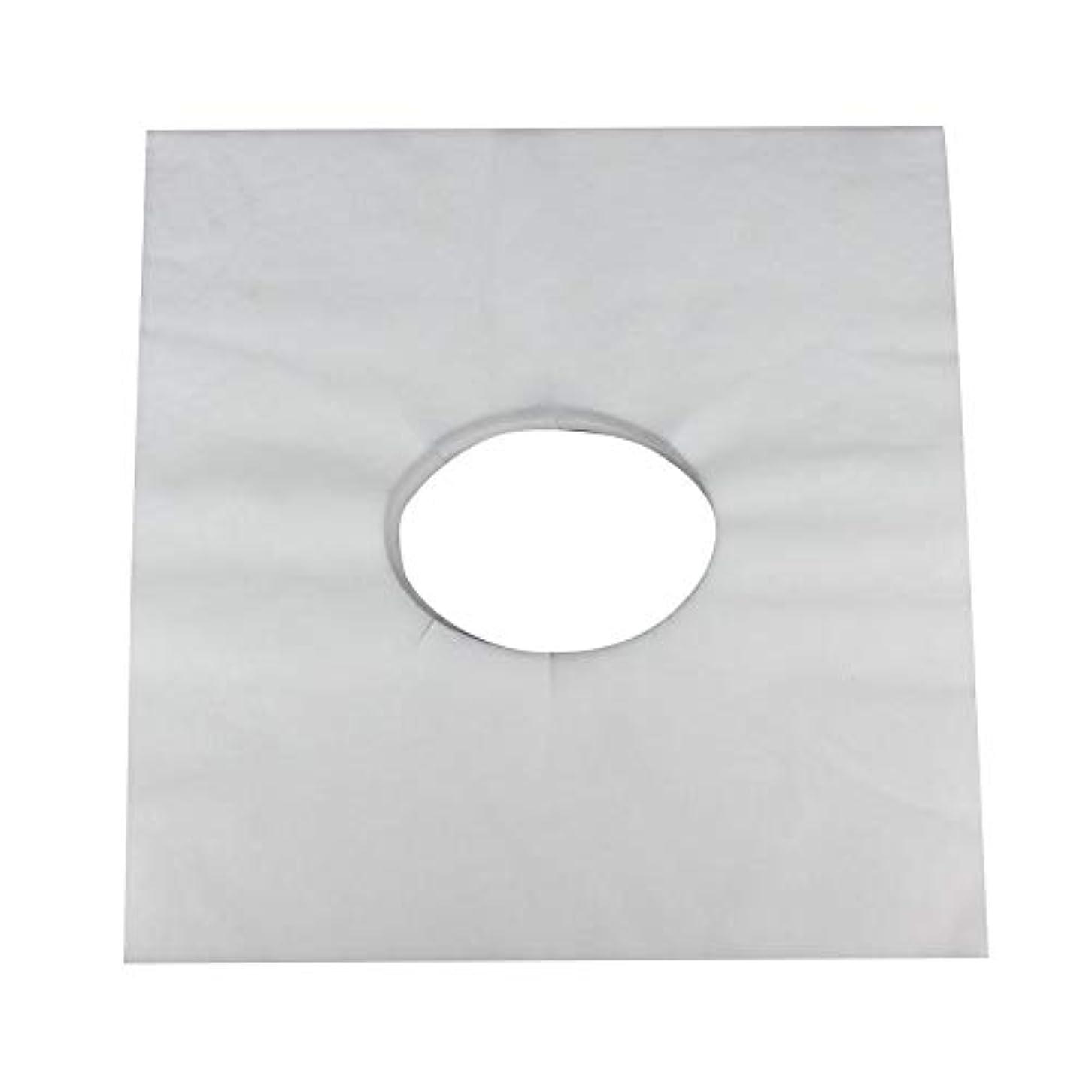 防止マットレス逸話マッサージのための使い捨て可能な美容院のベッドの表面穴カバー不織布マッサージテーブル枕カバー、100個(白)