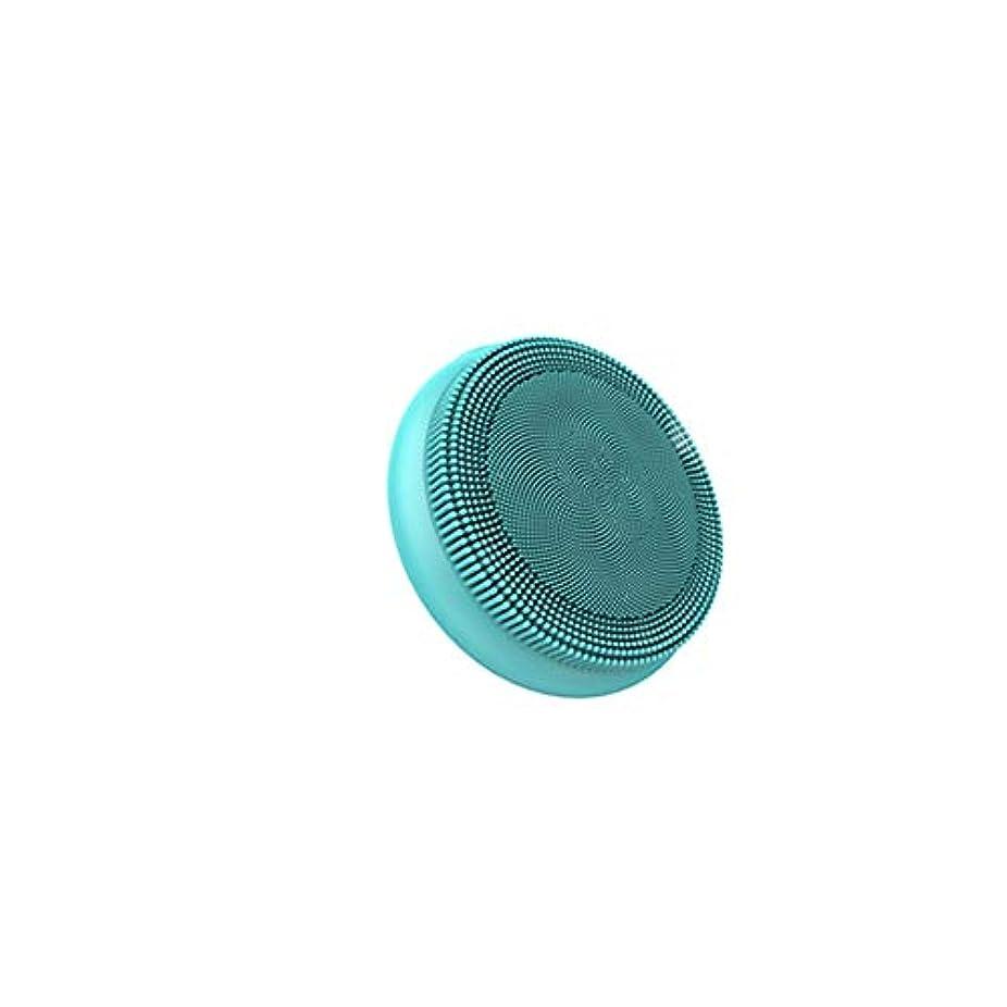 適度に不適当ファイアルフェイシャルクレンジングブラシ、ディープクレンジング用防水シリコンフェイスマッサージャー、すべての肌タイプのアンチエイジングスキンケアデバイス,グリーン