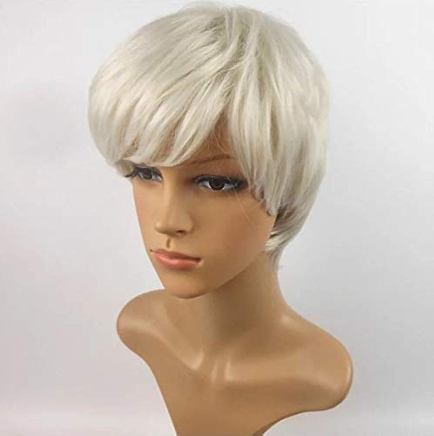 ロシアルー本能Kerwinner 短い巻き毛のかつら髪かつら女性のための自然な耐熱フルウィッグ (Color : White)