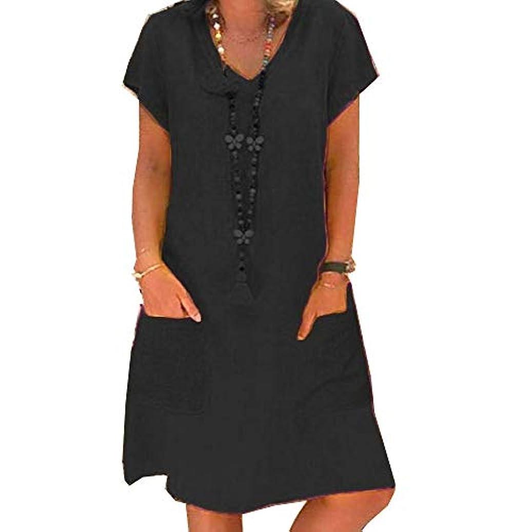 MIFAN プラスサイズ、リネンドレス、サマードレス、カジュアルドレス、ルーズドレス、Vネック、半袖、ビーチドレス