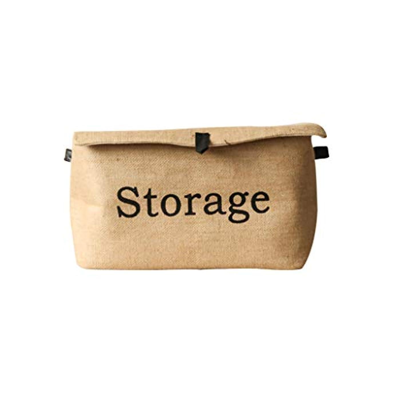 蛇行チャンス戸惑うQYSZYG 大麻の四角い服の収納ボックス綿とリネンレトロ折りたたみの緑の革のバックルは、収納ボックスをカバー 収納バスケット (サイズ さいず : L l)
