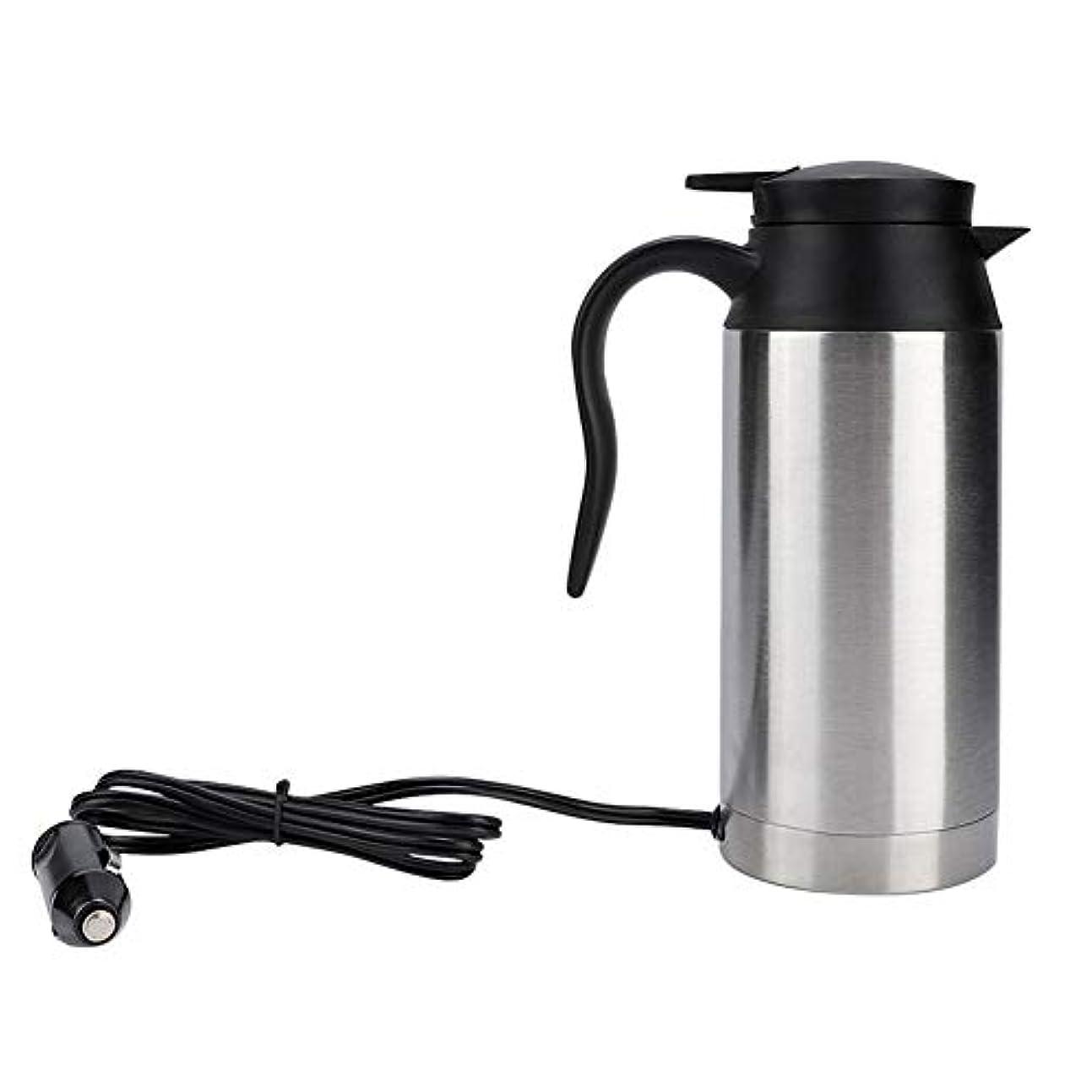 バン驚いたことに勤勉な電気湯沸かし器、 750MLステンレス鋼車電熱マグ 温度制御付きポータブル電気温水ケトル 紅茶/コーヒー用ミニトラベルケトル(24V)