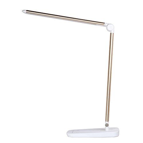 LEDデスクライト テーブルランプ 目に優しい 電気スタンド-Tradeone 昼白色/電球色切換え 学習机 タッチセンサー式 勉強用 読書 仕事 108LED USBポート 多角度回転 折り畳み式 5段階調光 10段階調色 10W 卓上ライト おしゃれ(ゴールド)