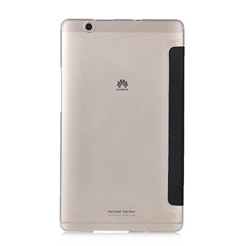 『Huawei MediaPad M3 8.4/ NTT docomo dtab d-03Gケース,【IVSO】Huawei MediaPad M3 8.4上質カバー スタンド機能 半透明PC + PUレザー ケース - Huawei MediaPad M3 8.4専用上質ケース 超薄型 最軽量(ブラック)』の2枚目の画像