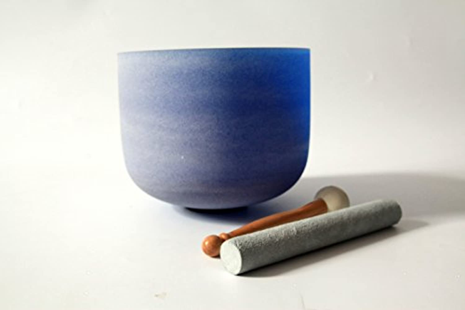 Blue Colored Frosted G Throat Chakra Quartz Crystal Singing Bowl 10