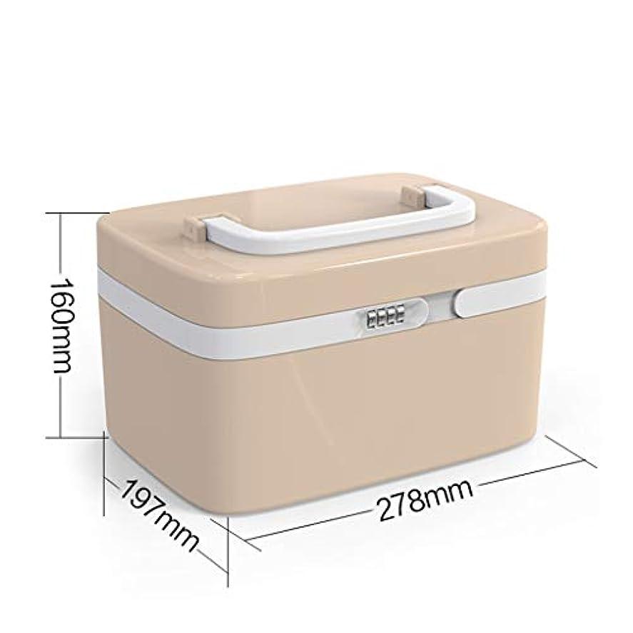従事した予感刺しますWXYXG パスワード薬箱家庭用薬箱携帯外来分離子救急箱キットキット薬でロック収納ボックス (Color : Khaki, Size : 27.8cm×19.7cm×16cm)