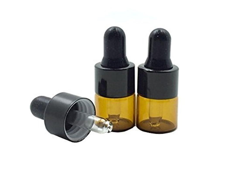 お風呂異常な出席15 Pcs Mini Tiny 1ml Amber Glass Dropper Bottles Refillable Essential Oil Bottles Vials With Eyed Dropper For...