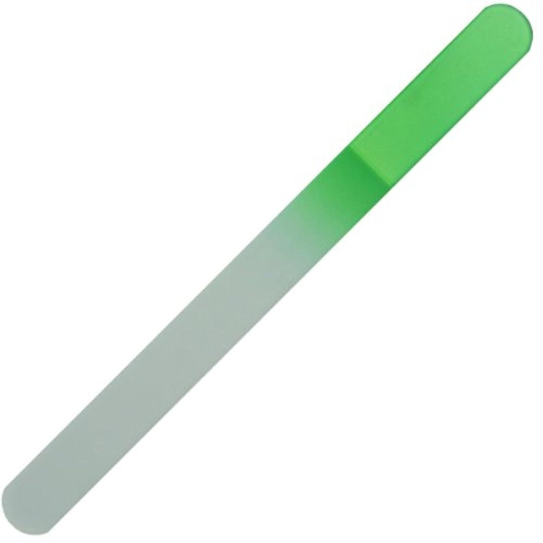 ポーチ氏気味の悪いチェコ の職人が仕上げた ガラス製 爪やすり 135mm 両面タイプ グリーン  (透明ソフトケース入り)