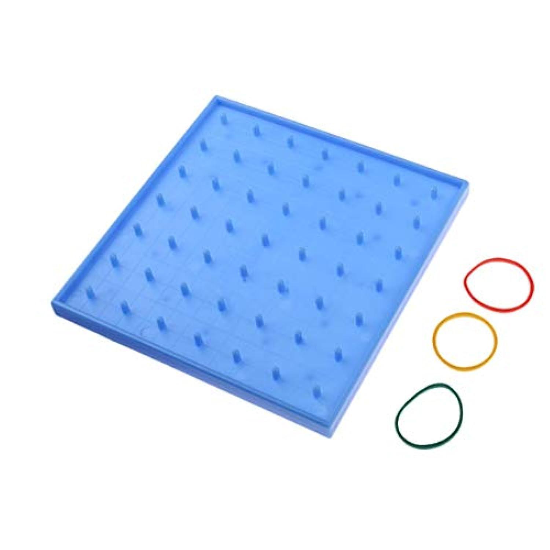 Saikogoods プラスチックネイルプレート、プライマリ数学ネイルボード、子供のためのパズルゲームツール、幾何学の学習、教育玩具、 青