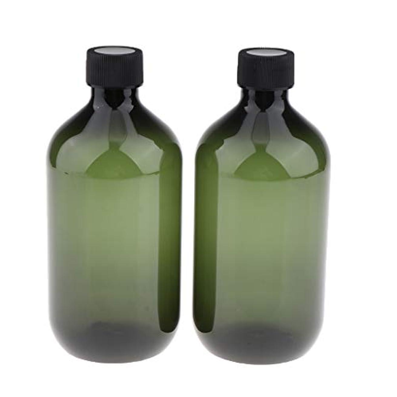 我慢するリーク無謀ローションボトル シャンプーボトル 遮光瓶 空ボトル 遮光ボトル UV保護 500ml 全2色 - ピクルスグリーン
