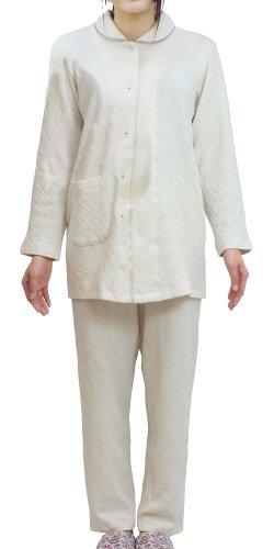 (パジャマ工房) パジャマ レディース 長袖 前開き オーガニックコットン 接結ニット[1203] Lネイビー