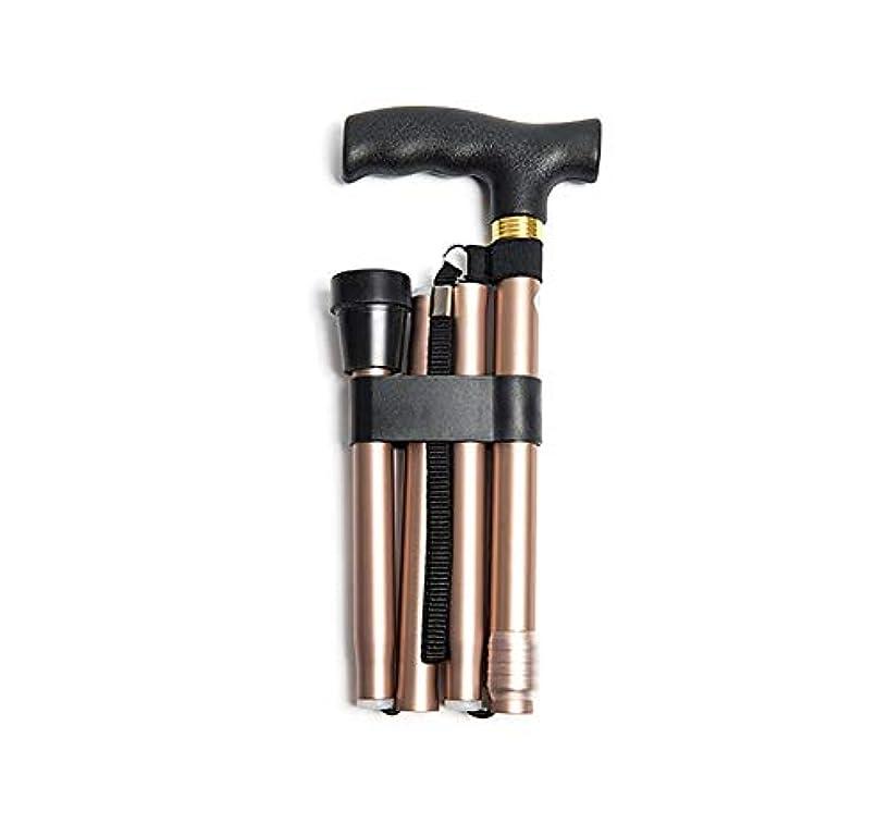 しない犯すぺディカブ滑り止めの携帯用アルミニウム杖を登っている古い極度の軽い調節可能な望遠鏡の折りたたみ杖 (色 : シャンパン)